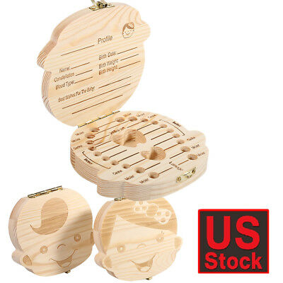 Tooth Box Organizer Milk Teeth Wood Storage First Tooth Keepsake Baby Kids Box