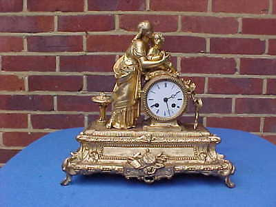 Victorian 1870 French Japy Mother & Child Ormolu Bracket Clock Berger Paris
