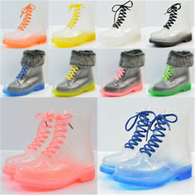 Clear Rain Ankle Boots Jelly Martin Lace up Flat Rubber Wellies RainshoesWomens.