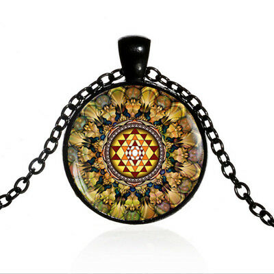 Vintage Sacred geometry Yoga Black Dome glass Photo Art Chain Pendant Necklace