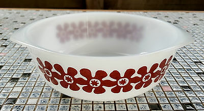 1970's PYREX Ovenware NO 11 CASSEROLE dish with BROWN flower pattern