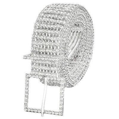 Ladies Novel Waist Chain Charm Belt of 8 Row Diamante Diamond Silver Belt