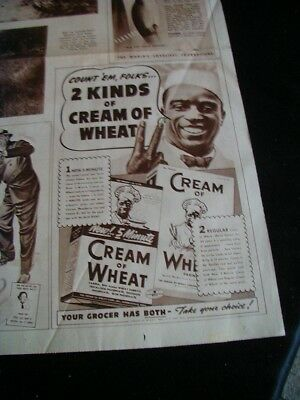 1939 cream of wheat newspaper print ad black man peace sign
