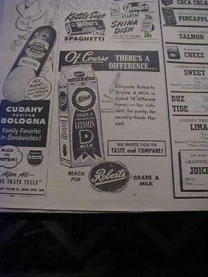 1951 roberts milk newspaper print ad milk carton local ad old style lager beer