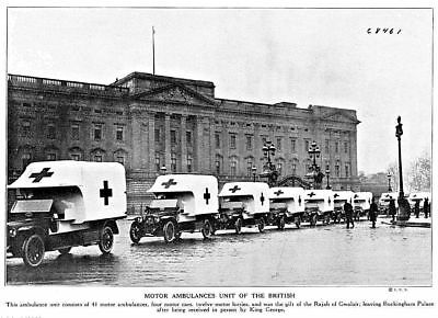 1915 World War 1 British Red Cross ambulances Buckingham Palace Photo Print