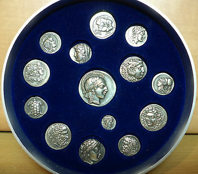 Greek Ancient Handmade Silver 925 Coins Collection