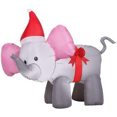 gemmy 4 inflatable christmas elephant with bow indooroutdoor decoration new - Christmas Elephant Outdoor Decoration