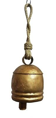 Antqiue Cow Bell Handmade Vintage Primitive Wooden Clapper With Jute Handle