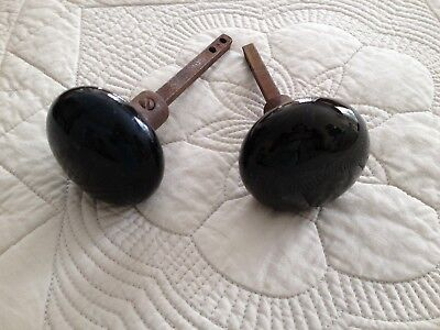 BLACK JET POTTERY DOOR HANDLES KNOBS KNOB SET Pair Two 2 & Spindles VINTAGE