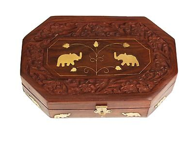 Jewelry Box Antique Hand Carved Rose Wood Vintage Organizer , Brass Inlay 8 x 5""