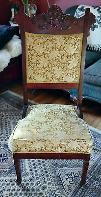 Victorian Parlor Carved wood Parlor Chair on Casters antique ORNATE thrown vtg