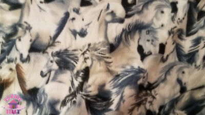 Horse Print Polar Fleece Fabric Horse Stampede 60 Width Sold