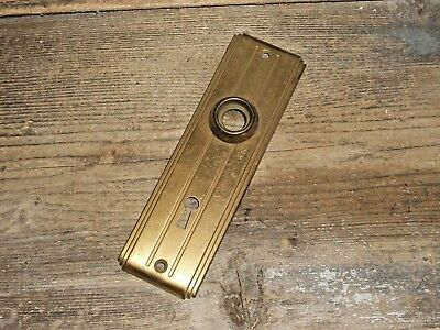 VTG Aged RIBBED Rustic Unique Old Art Deco Metal Keyhole Door Knob Backplate