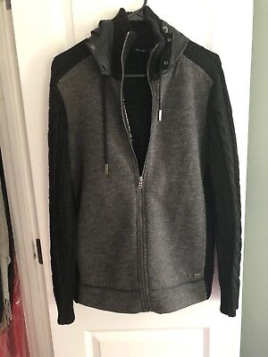 Armani Exchange Jacket Sweater Mens Size Meduim Gret Black Knit
