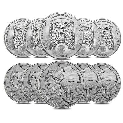 Lot of 10 - 2018 1 oz South Korea Silver ZI:SIN Canis Medal BU