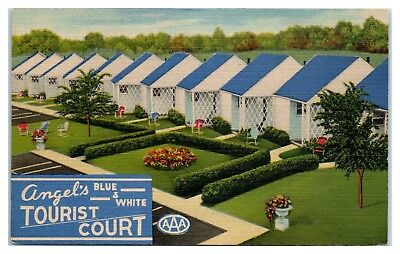 Mid-1900s Angel's Blue and White Tourist Court, Bowling Green, OH Postcard