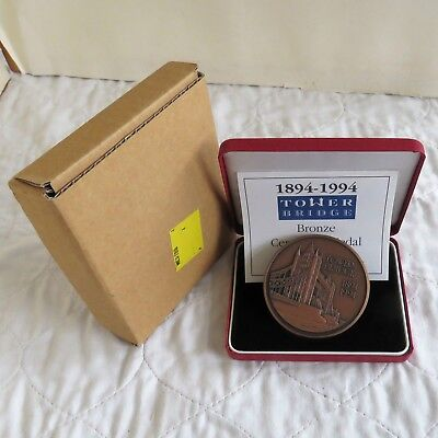 1994 ROYAL MINT TOWER BRIDGE 63mm TONED BRONZE MEDAL - boxed/coa/outer