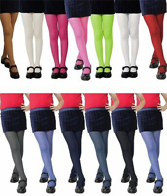 70 Den Girls Tights Plain Age 2-12 Years Various Colours Semi Opaque Polyamide