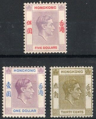 Hong Kong 1938 KGVI  3 x mint stamps value to $5  Mint Hinged