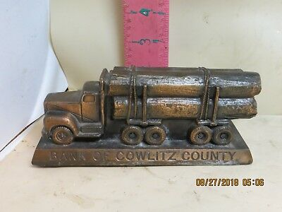 Bank Of Cowlitz County Log Truck Bank - Made By Bantrifco In Chicago - No Damage