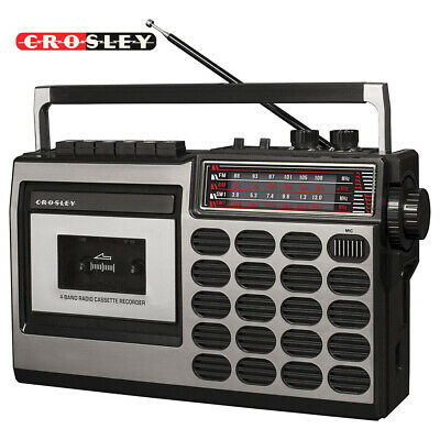 Crosley CT100A-SI Old School 80s Style Cassette Player and Radio - Silver