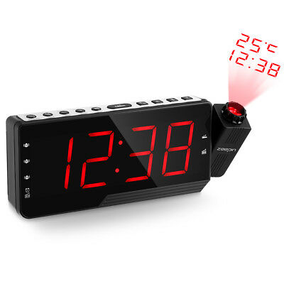 Projector Projection LED Digital Alarm Clock Snooze Timer Temperature FM Radio