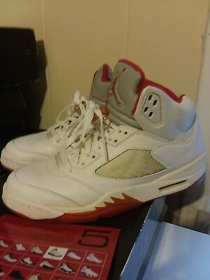 00f005957f0 Air Jordan Retro 5 SZ 11WMNS mens 9.5 Sunset/White/Red PE great used