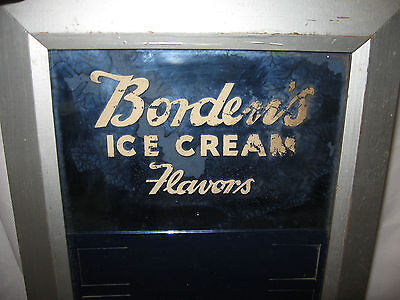 Rare Vintage BORDEN'S ICE CREAM FLAVORS DISPLAY SIGN Blue Mirror & Lettering