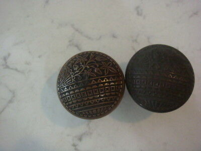 Antique Cast Brass Victorian Eastlake Entry Door Knobs 2 1/2 Inch