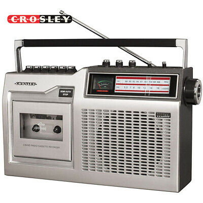 Crosley CT200A-SI Old School Classic 80s Style Cassette Player and Radio Silver