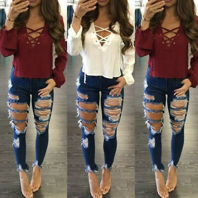 Women Ripped Destroyed Jeans Denim Pants Skinny High Waisted Distressed Trousers