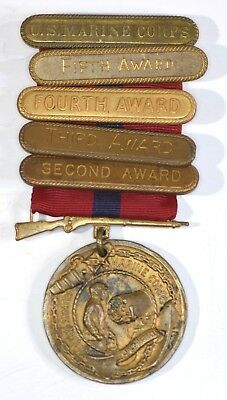 Early WWI USMC Good Conduct Medal Numbered #21724 w/ RARE full award Bars WW1