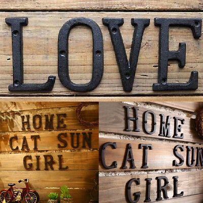 Metal Letters Cast Iron Address Alphabet Numbers House Sign DIY Cafe Wall Decor