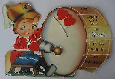 Vintage 1940s Die Cut Valentine's Day Card Tab Animated Drummer Boy
