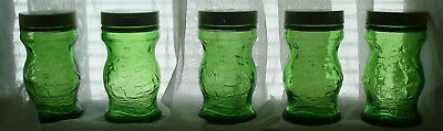 Vtg Green Glass 1827 USS Warren sloop-of-war Ship Wheaten Spice Bottle Lot of 5