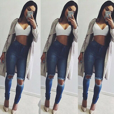 Fashion Womens Stretch Ripped High Waisted Denim Pants Jeans Jeggings Trousers