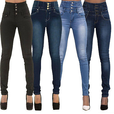Womens High Waisted Trousers Jeans Slim Fit Stretch Jeggings Denim Long Pants