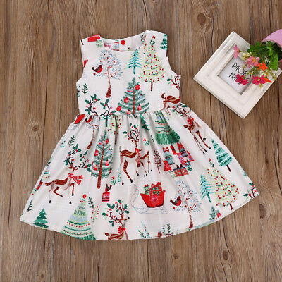 US Kids Baby Girls Christmas Cartoon Deer Sleeveless Princess Party Tutu Dress