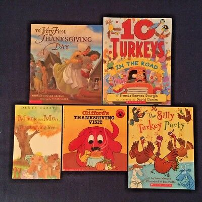 Lot of 5 Children's Picture Books about Thanksgiving Giving Thanks Turkeys