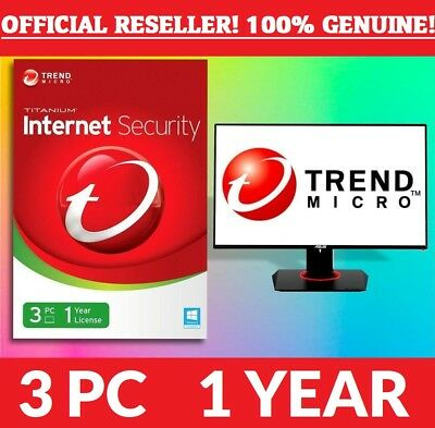 Trend Micro Maximum or Trend Micro Internet Security 2018/2019 - 3 User, 1 Year