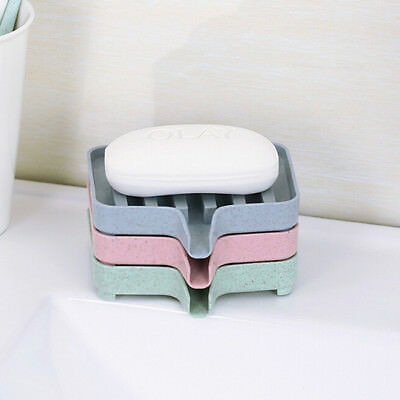 Flexible Bathroom Soap Dish Storage Holder Soapbox Plate Tray Drain BS