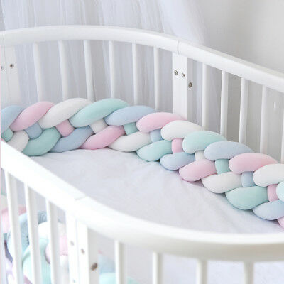 200CM Baby Infant Plush Crib Bumper Bed Bedding Cot Braid Pillow Pad Protector