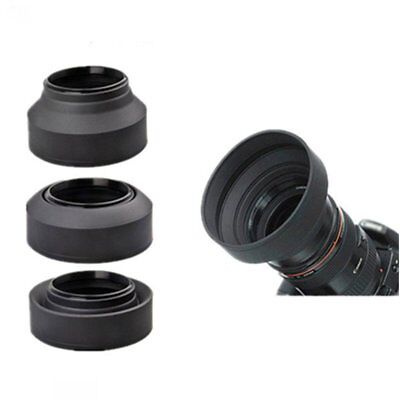 52mm Rubber Lens Hood 3 Stage Collapsible Fr Canon Nikon Sony Pentax DSLR Camera