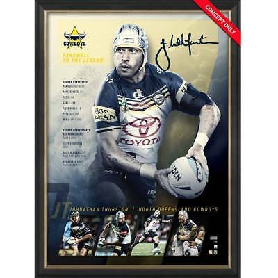 Johnathan Thurston Signed North Queensland Retirement Official NRL Print Framed