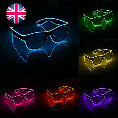 Battery Operate EL Glasses LED Light Up Glow Flashing Shade Sunglasses Party Bar