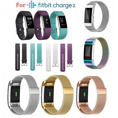 for Fitbit Charge 2 Replacement Band Stainless Steel Milanese/Silicone Strap