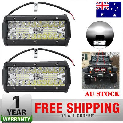 2x 7inch CREE LED Work Light Bar Spot Flood OffRoad Fog Driving 4x4 4WD Reverse