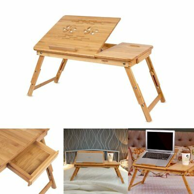 Portable Folding Computer desk table notebook work vented table bed sofa tray AU