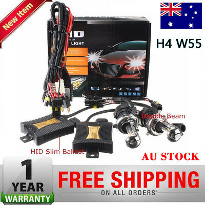 55W 6000K HID Bi-Xenon High/Low Conversion Kit Slim Ballasts Car Headlight H4