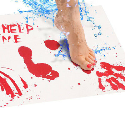 Blood Bath Mat: Color changing bloody sheet turns red when wet 27x16in (70x42cm)